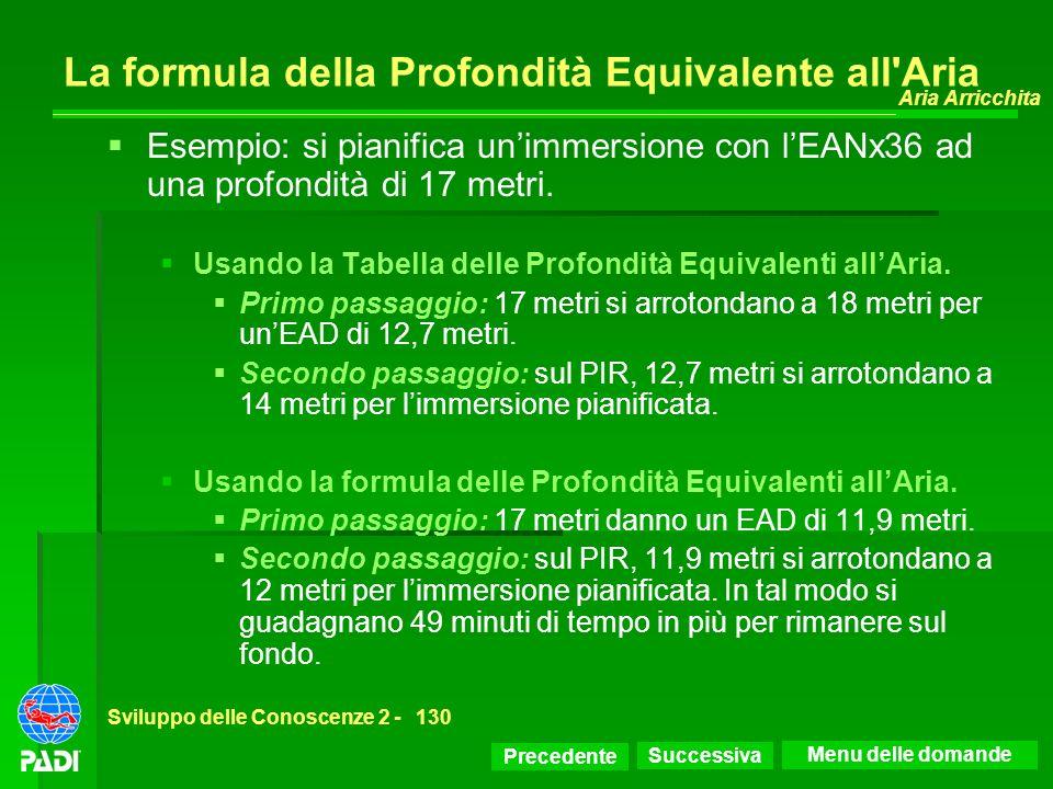 Precedente Successiva Aria Arricchita Sviluppo delle Conoscenze 2 -130 La formula della Profondità Equivalente all'Aria Esempio: si pianifica unimmers