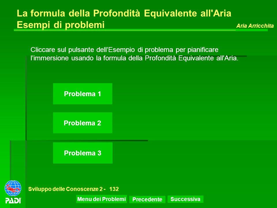 Precedente Successiva Aria Arricchita Sviluppo delle Conoscenze 2 -132 La formula della Profondità Equivalente all'Aria Esempi di problemi Problema 1