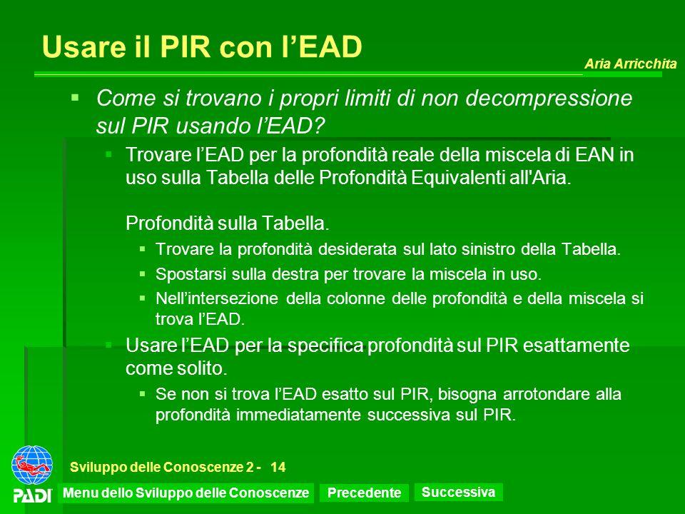 Precedente Successiva Aria Arricchita Sviluppo delle Conoscenze 2 -14 Usare il PIR con lEAD Come si trovano i propri limiti di non decompressione sul