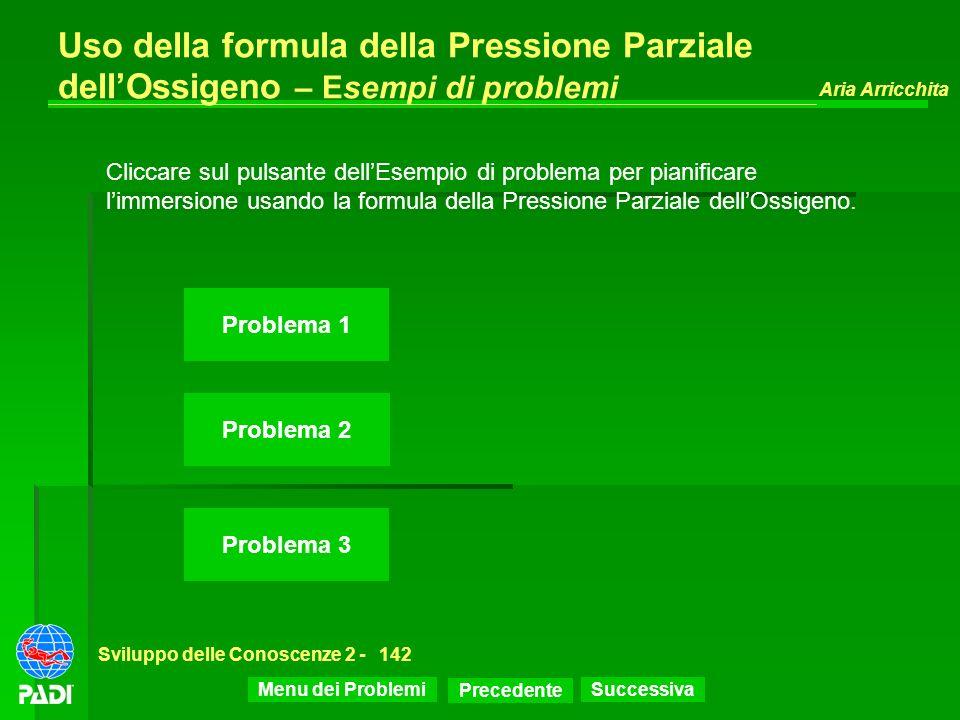 Precedente Successiva Aria Arricchita Sviluppo delle Conoscenze 2 -142 Uso della formula della Pressione Parziale dellOssigeno – Esempi di problemi Pr