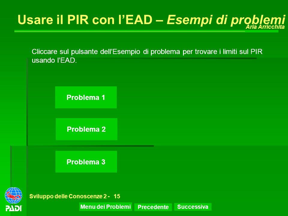 Precedente Successiva Aria Arricchita Sviluppo delle Conoscenze 2 -15 Usare il PIR con lEAD – Esempi di problemi Problema 1 Problema 2 Problema 3 Clic