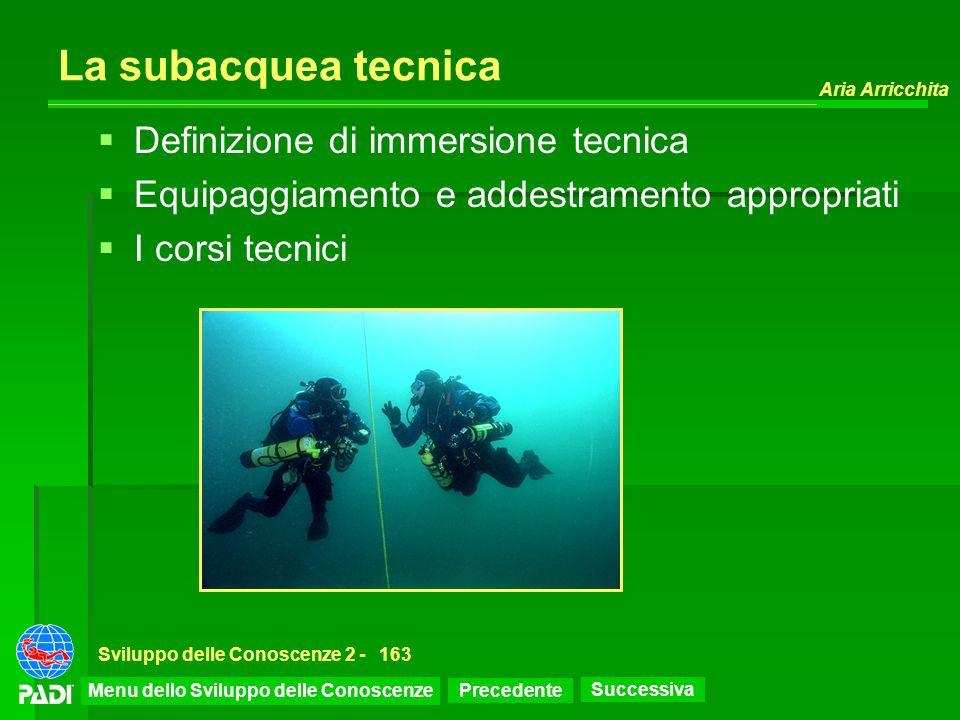 Precedente Successiva Aria Arricchita Sviluppo delle Conoscenze 2 -163 La subacquea tecnica Definizione di immersione tecnica Equipaggiamento e addest