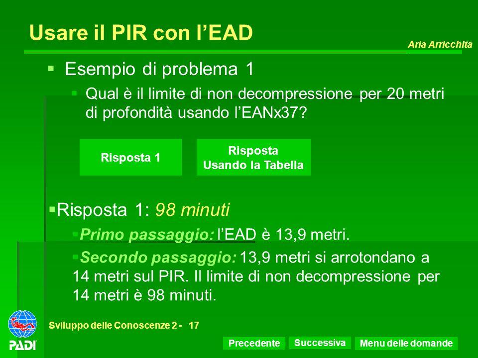 Precedente Successiva Aria Arricchita Sviluppo delle Conoscenze 2 -17 Risposta 1 Esempio di problema 1 Qual è il limite di non decompressione per 20 m