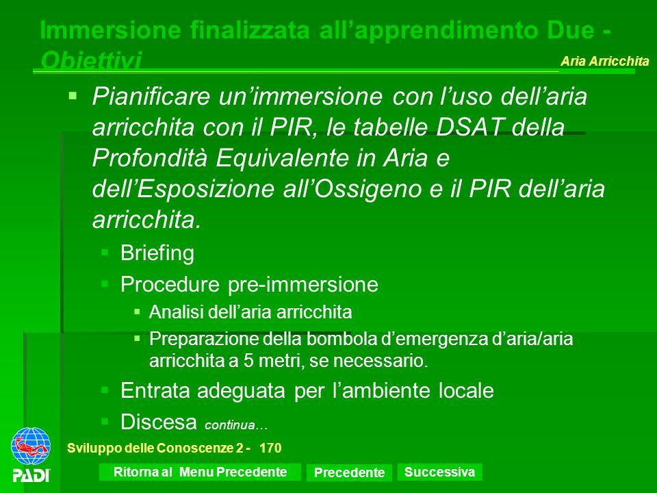 Successiva Aria Arricchita Sviluppo delle Conoscenze 2 -170 Immersione finalizzata allapprendimento Due - Obiettivi Pianificare unimmersione con luso