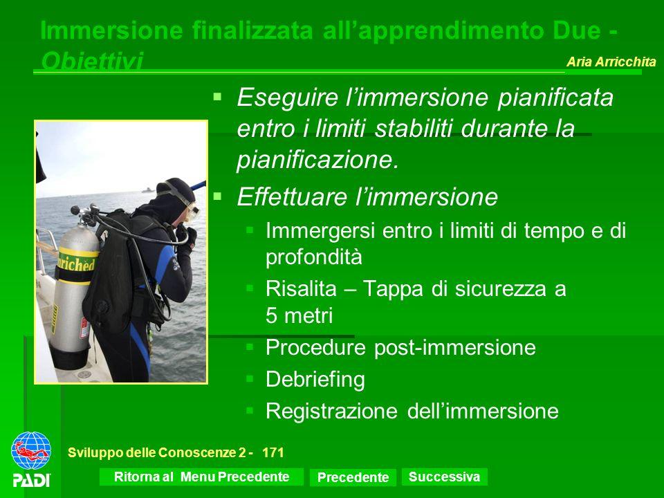 Successiva Aria Arricchita Sviluppo delle Conoscenze 2 -171 Immersione finalizzata allapprendimento Due - Obiettivi Eseguire limmersione pianificata e