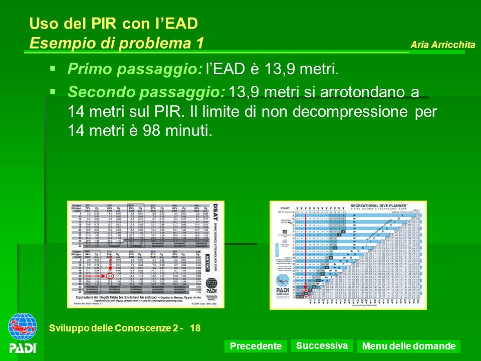 Precedente Successiva Aria Arricchita Sviluppo delle Conoscenze 2 -18 Uso del PIR con lEAD Esempio di problema 1 Primo passaggio: lEAD è 13,9 metri. S