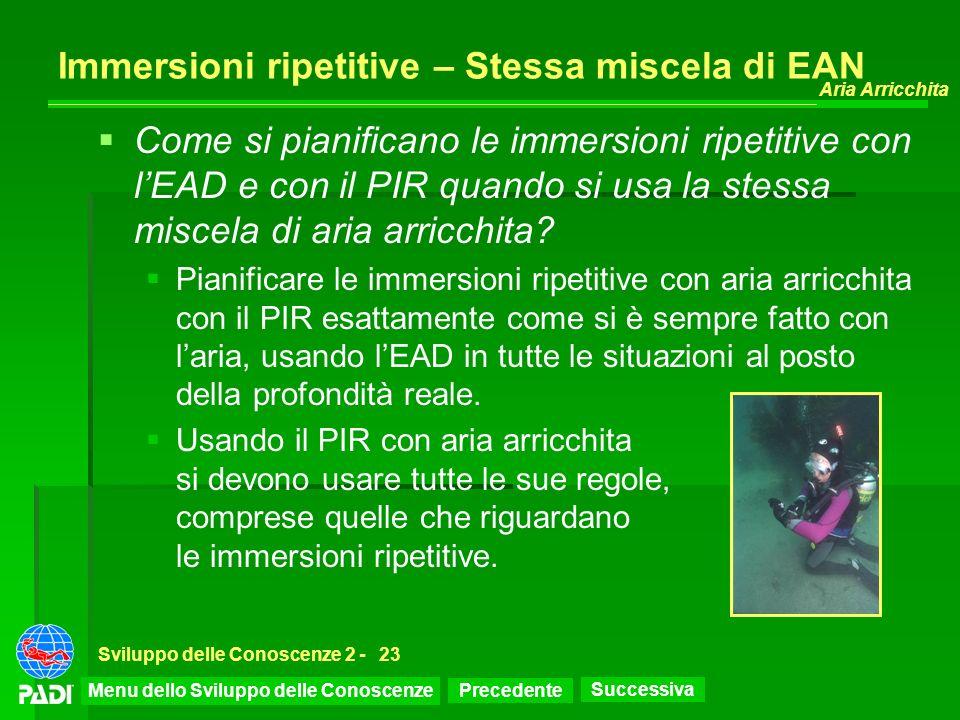 Precedente Successiva Aria Arricchita Sviluppo delle Conoscenze 2 -23 Immersioni ripetitive – Stessa miscela di EAN Come si pianificano le immersioni