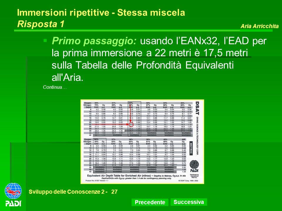 Precedente Successiva Aria Arricchita Sviluppo delle Conoscenze 2 -27 Immersioni ripetitive - Stessa miscela Risposta 1 Primo passaggio: usando lEANx3