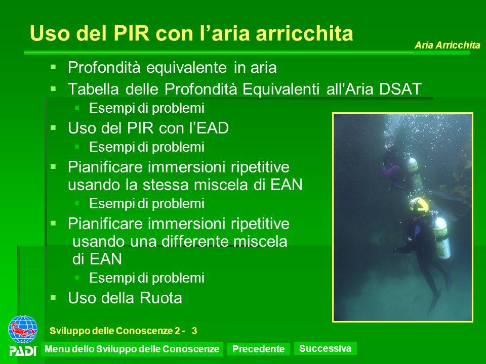 Precedente Successiva Aria Arricchita Sviluppo delle Conoscenze 2 -3 Uso del PIR con laria arricchita Profondità equivalente in aria Tabella delle Pro