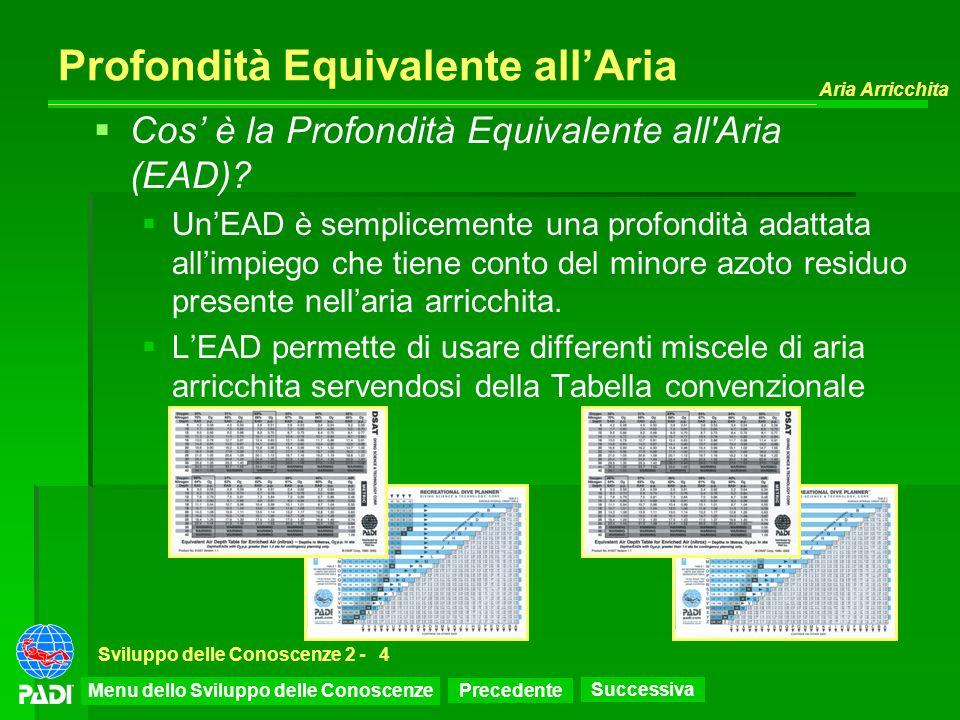 Precedente Successiva Aria Arricchita Sviluppo delle Conoscenze 2 -4 Profondità Equivalente allAria Cos è la Profondità Equivalente all'Aria (EAD)? Un