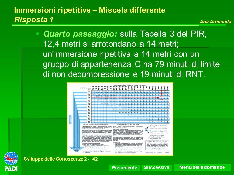 Precedente Successiva Aria Arricchita Sviluppo delle Conoscenze 2 -42 Immersioni ripetitive – Miscela differente Risposta 1 Quarto passaggio: sulla Ta