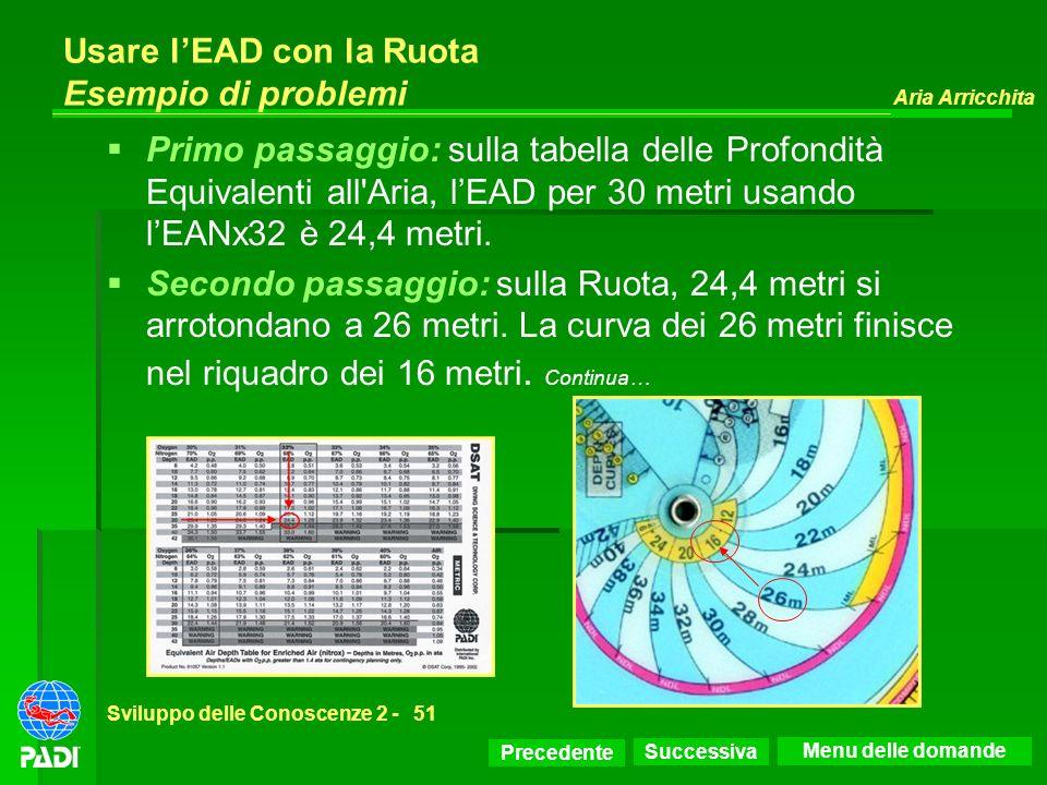 Precedente Successiva Aria Arricchita Sviluppo delle Conoscenze 2 -51 Usare lEAD con la Ruota Esempio di problemi Primo passaggio: sulla tabella delle