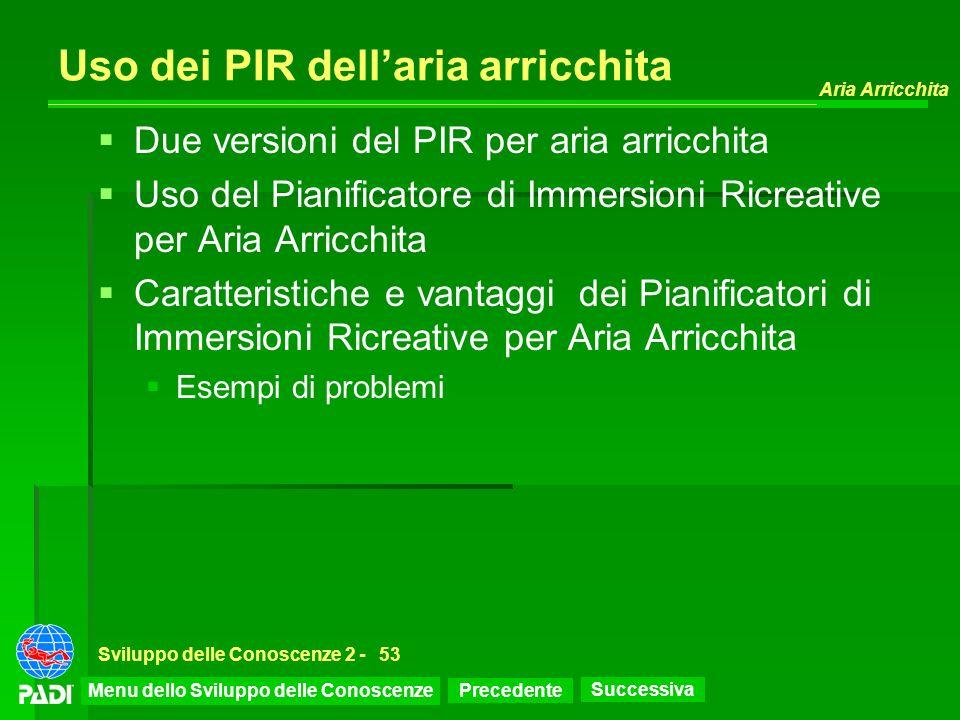 Precedente Successiva Aria Arricchita Sviluppo delle Conoscenze 2 -53 Uso dei PIR dellaria arricchita Due versioni del PIR per aria arricchita Uso del