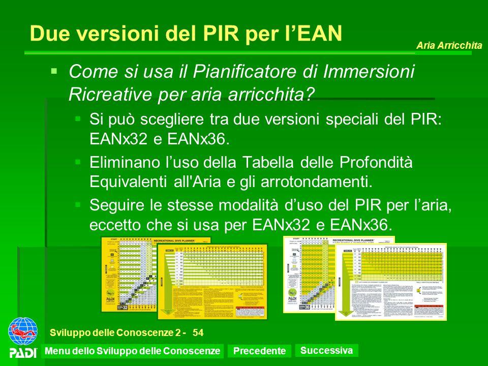 Precedente Successiva Aria Arricchita Sviluppo delle Conoscenze 2 -54 Due versioni del PIR per lEAN Come si usa il Pianificatore di Immersioni Ricreat