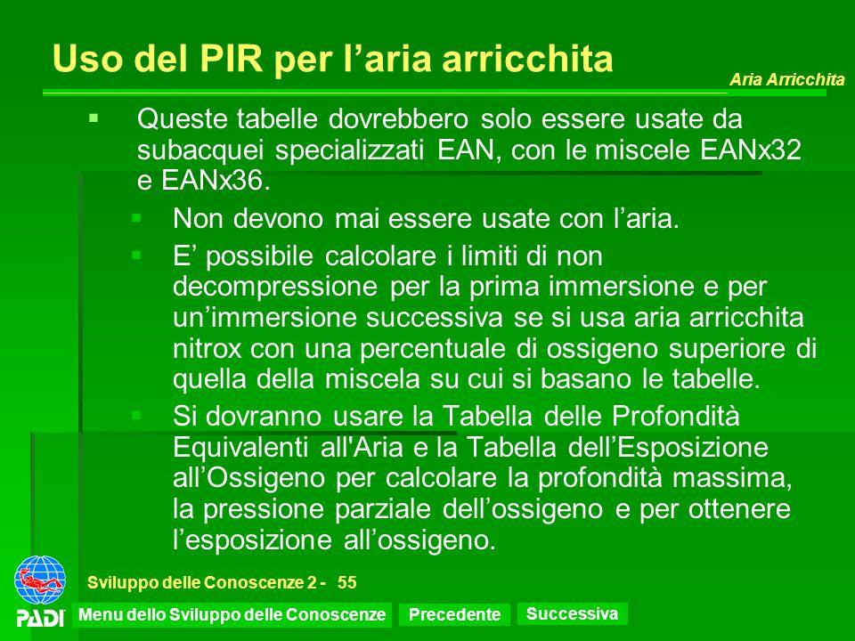 Precedente Successiva Aria Arricchita Sviluppo delle Conoscenze 2 -55 Uso del PIR per laria arricchita Queste tabelle dovrebbero solo essere usate da