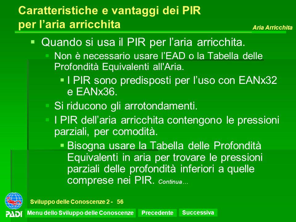 Precedente Successiva Aria Arricchita Sviluppo delle Conoscenze 2 -56 Caratteristiche e vantaggi dei PIR per laria arricchita Quando si usa il PIR per