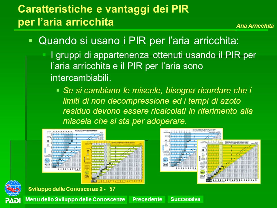 Precedente Successiva Aria Arricchita Sviluppo delle Conoscenze 2 -57 Caratteristiche e vantaggi dei PIR per laria arricchita Quando si usano i PIR pe