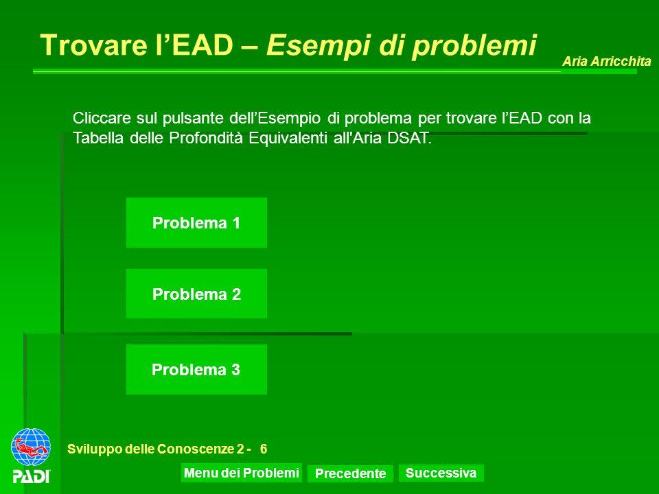 Precedente Successiva Aria Arricchita Sviluppo delle Conoscenze 2 -6 Trovare lEAD – Esempi di problemi Problema 1 Problema 2 Problema 3 Cliccare sul p