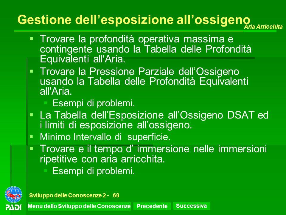 Precedente Successiva Aria Arricchita Sviluppo delle Conoscenze 2 -69 Gestione dellesposizione allossigeno Trovare la profondità operativa massima e c