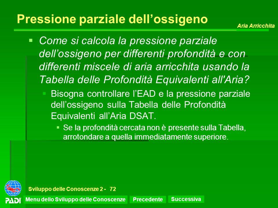 Precedente Successiva Aria Arricchita Sviluppo delle Conoscenze 2 -72 Pressione parziale dellossigeno Come si calcola la pressione parziale dellossige