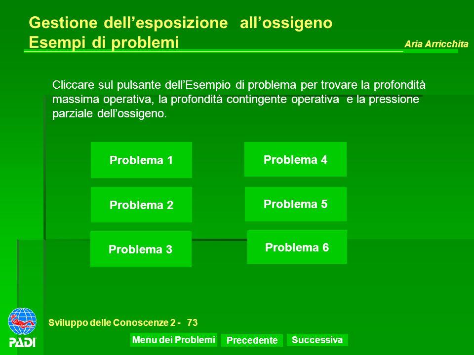 Precedente Successiva Aria Arricchita Sviluppo delle Conoscenze 2 -73 Gestione dellesposizione allossigeno Esempi di problemi Cliccare sul pulsante de