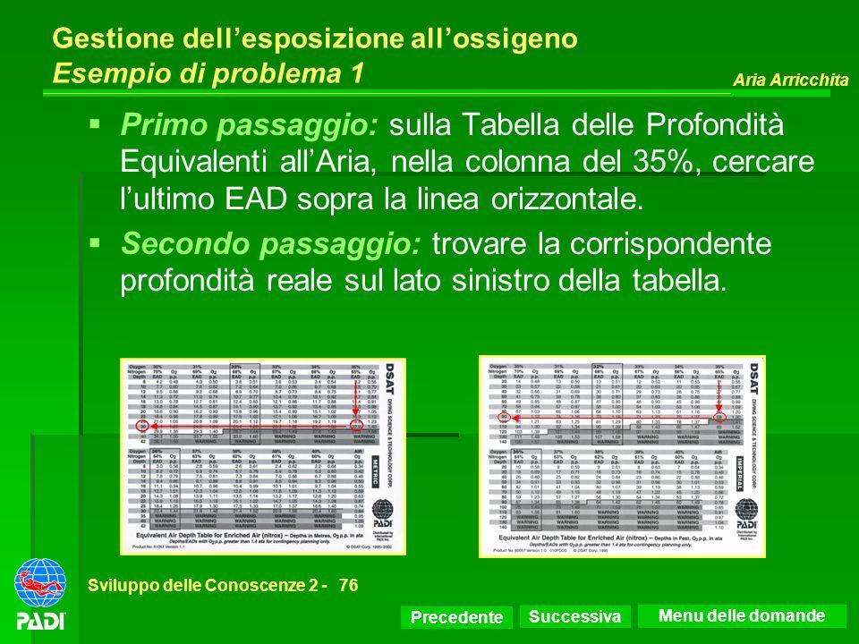Precedente Successiva Aria Arricchita Sviluppo delle Conoscenze 2 -76 Gestione dellesposizione allossigeno Esempio di problema 1 Primo passaggio: sull