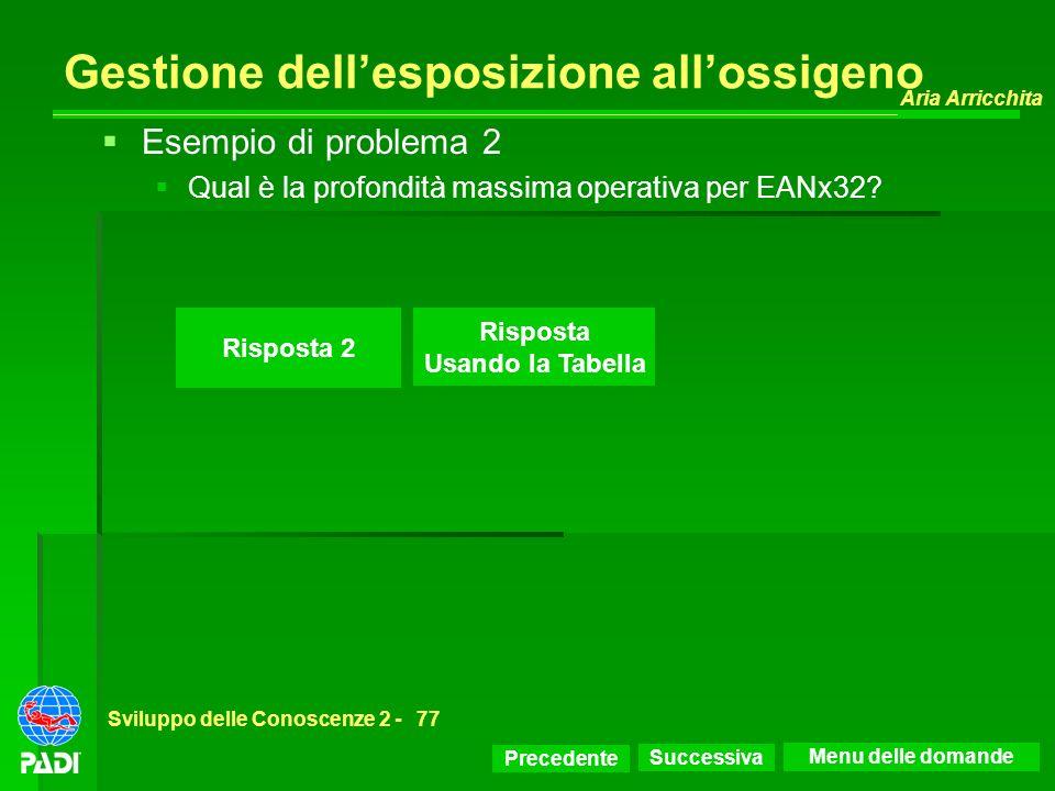 Precedente Successiva Aria Arricchita Sviluppo delle Conoscenze 2 -77 Risposta 2 Esempio di problema 2 Qual è la profondità massima operativa per EANx