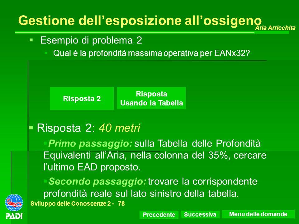 Precedente Successiva Aria Arricchita Sviluppo delle Conoscenze 2 -78 Risposta 2 Esempio di problema 2 Qual è la profondità massima operativa per EANx