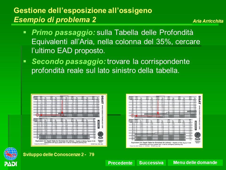 Precedente Successiva Aria Arricchita Sviluppo delle Conoscenze 2 -79 Gestione dellesposizione allossigeno Esempio di problema 2 Primo passaggio: sull