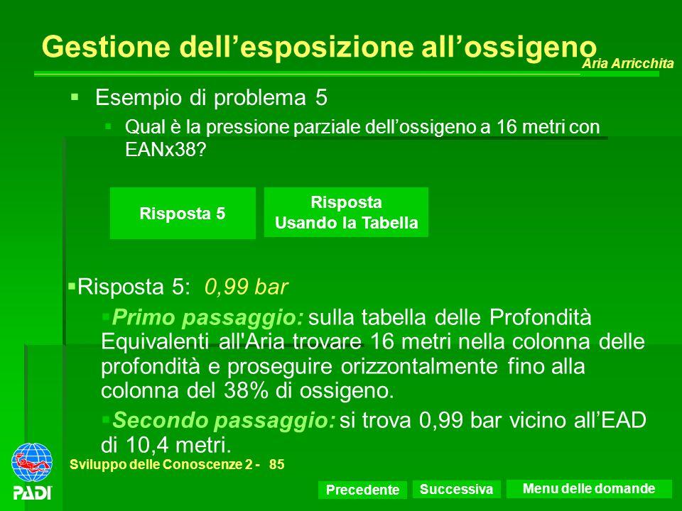 Precedente Successiva Aria Arricchita Sviluppo delle Conoscenze 2 -85 Risposta 5 Esempio di problema 5 Qual è la pressione parziale dellossigeno a 16