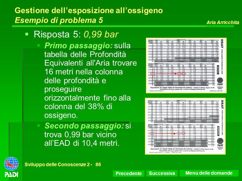 Precedente Successiva Aria Arricchita Sviluppo delle Conoscenze 2 -86 Gestione dellesposizione allossigeno Esempio di problema 5 Risposta 5: 0,99 bar