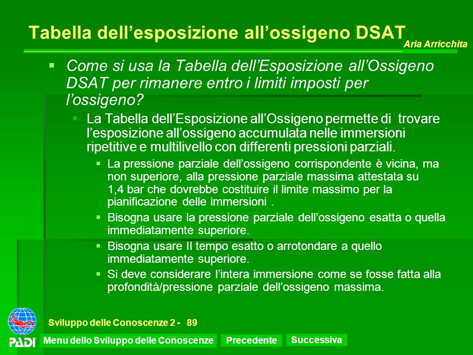 Precedente Successiva Aria Arricchita Sviluppo delle Conoscenze 2 -89 Tabella dellesposizione allossigeno DSAT Come si usa la Tabella dellEsposizione