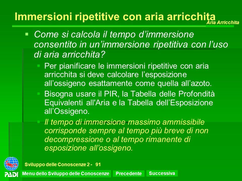 Precedente Successiva Aria Arricchita Sviluppo delle Conoscenze 2 -91 Immersioni ripetitive con aria arricchita Come si calcola il tempo dimmersione c