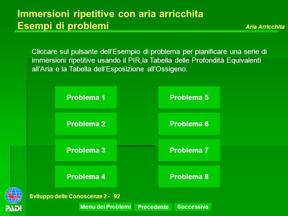 Precedente Successiva Aria Arricchita Sviluppo delle Conoscenze 2 -92 Immersioni ripetitive con aria arricchita Esempi di problemi Problema 1 Problema