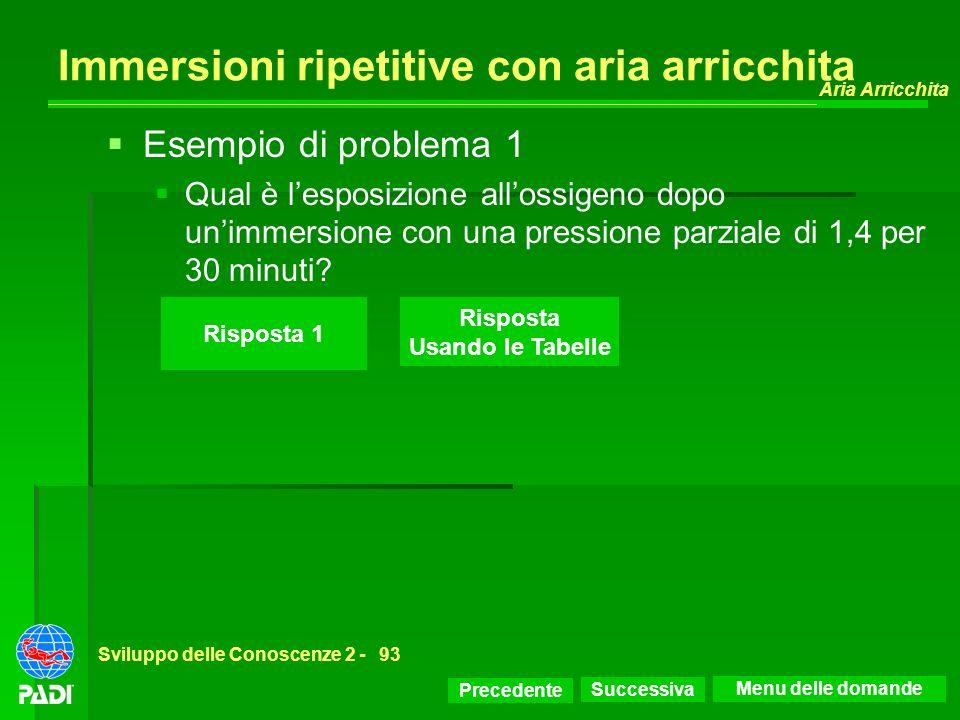 Precedente Successiva Aria Arricchita Sviluppo delle Conoscenze 2 -93 Risposta 1 Esempio di problema 1 Qual è lesposizione allossigeno dopo unimmersio