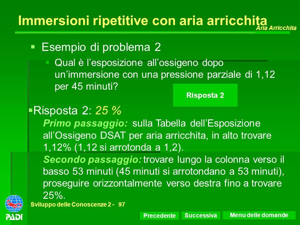 Precedente Successiva Aria Arricchita Sviluppo delle Conoscenze 2 -97 Immersioni ripetitive con aria arricchita Risposta 2 Risposta 2: 25 % Primo pass