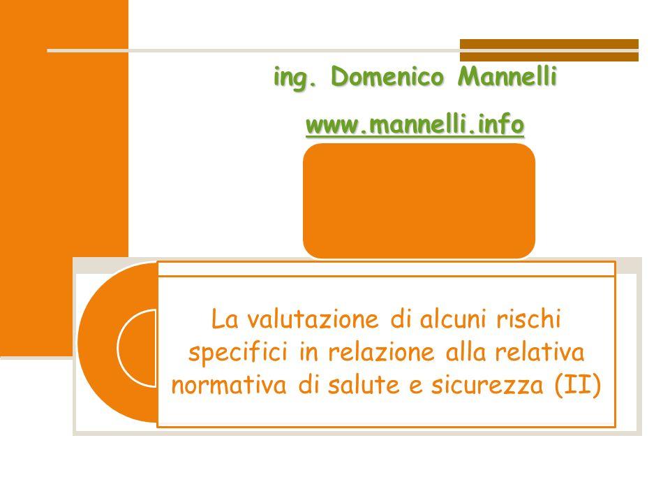 La valutazione di alcuni rischi specifici in relazione alla relativa normativa di salute e sicurezza (II)ing. Domenico Mannelli wwww wwww wwww.... mmm
