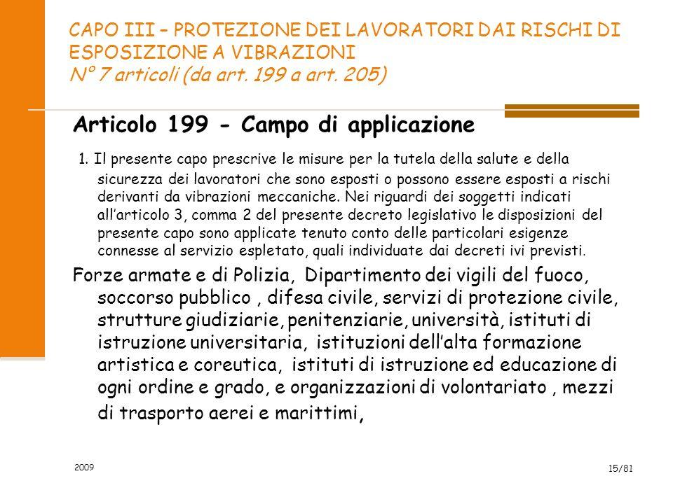 CAPO III – PROTEZIONE DEI LAVORATORI DAI RISCHI DI ESPOSIZIONE A VIBRAZIONI N° 7 articoli (da art. 199 a art. 205) Articolo 199 - Campo di applicazion