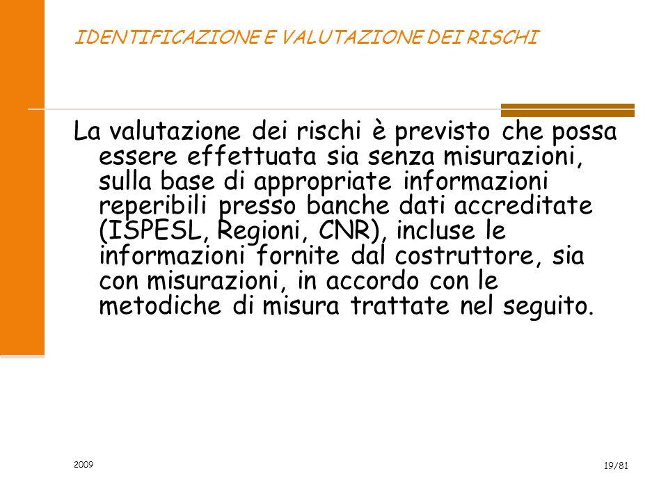 2009 19/81 IDENTIFICAZIONE E VALUTAZIONE DEI RISCHI La valutazione dei rischi è previsto che possa essere effettuata sia senza misurazioni, sulla base
