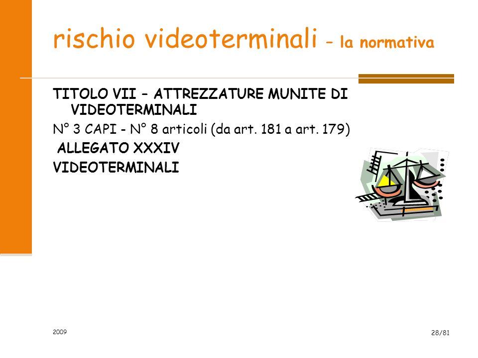 2009 28/81 rischio videoterminali – la normativa TITOLO VII – ATTREZZATURE MUNITE DI VIDEOTERMINALI N° 3 CAPI - N° 8 articoli (da art. 181 a art. 179)
