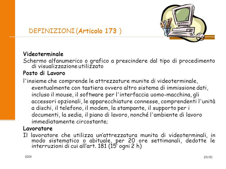 2009 29/81 DEFINIZIONI (Articolo 173 ) Videoterminale Schermo alfanumerico o grafico a prescindere dal tipo di procedimento di visualizzazione utilizz