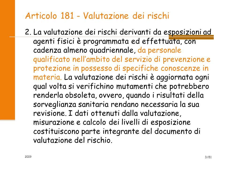 Articolo 181 - Valutazione dei rischi 2. La valutazione dei rischi derivanti da esposizioni ad agenti fisici è programmata ed effettuata, con cadenza