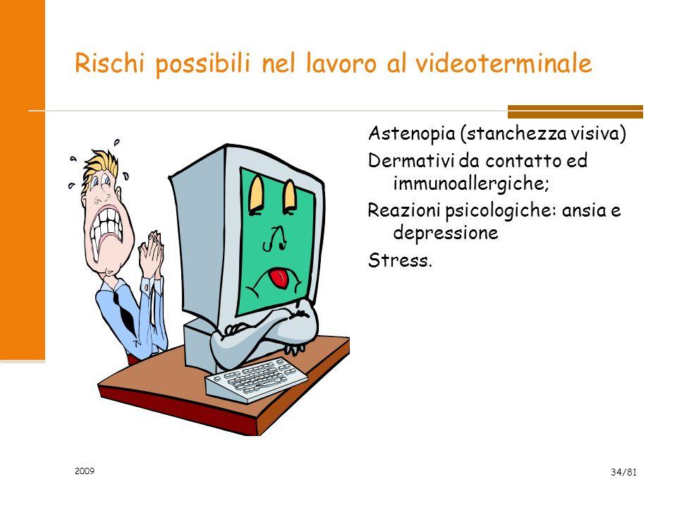 2009 34/81 Rischi possibili nel lavoro al videoterminale Astenopia (stanchezza visiva) Dermativi da contatto ed immunoallergiche; Reazioni psicologich