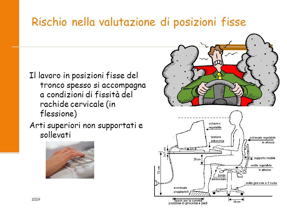 2009 36/81 Rischio nella valutazione di posizioni fisse Il lavoro in posizioni fisse del tronco spesso si accompagna a condizioni di fissità del rachi
