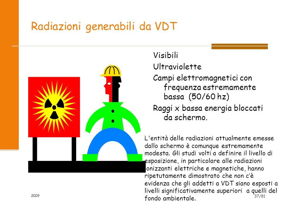 2009 37/81 Radiazioni generabili da VDT Visibili Ultraviolette Campi elettromagnetici con frequenza estremamente bassa (50/60 hz) Raggi x bassa energi