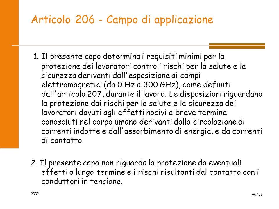 Articolo 206 - Campo di applicazione 1. Il presente capo determina i requisiti minimi per la protezione dei lavoratori contro i rischi per la salute e