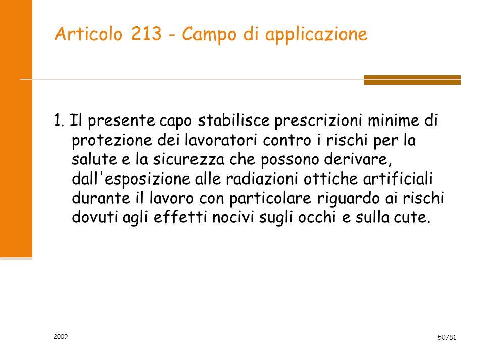 Articolo 213 - Campo di applicazione 1. Il presente capo stabilisce prescrizioni minime di protezione dei lavoratori contro i rischi per la salute e l