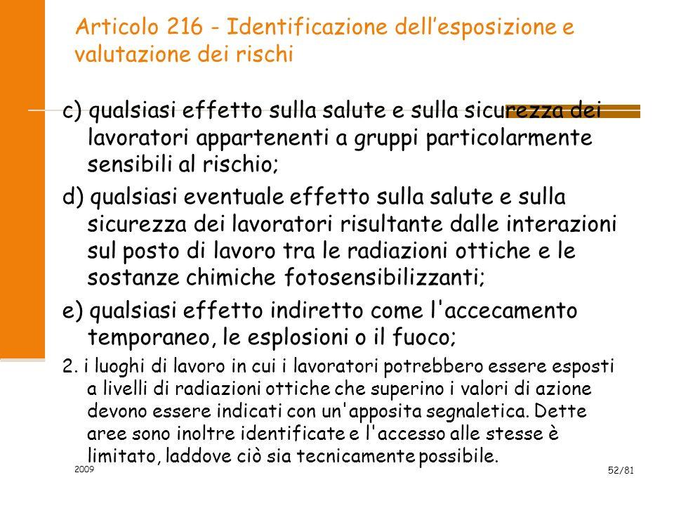 Articolo 216 - Identificazione dellesposizione e valutazione dei rischi c) qualsiasi effetto sulla salute e sulla sicurezza dei lavoratori appartenent