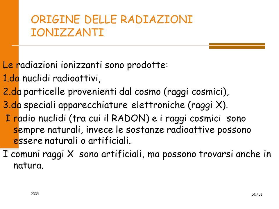 2009 55/81 ORIGINE DELLE RADIAZIONI IONIZZANTI Le radiazioni ionizzanti sono prodotte: 1.da nuclidi radioattivi, 2.da particelle provenienti dal cosmo