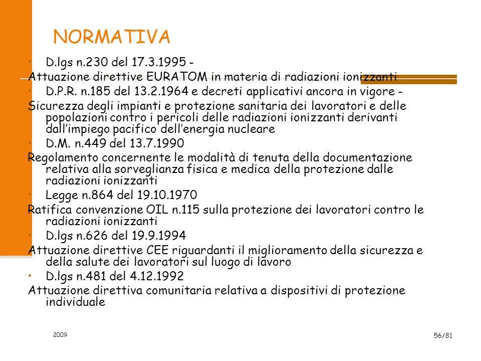 2009 56/81 NORMATIVA D.lgs n.230 del 17.3.1995 - Attuazione direttive EURATOM in materia di radiazioni ionizzanti D.P.R. n.185 del 13.2.1964 e decreti